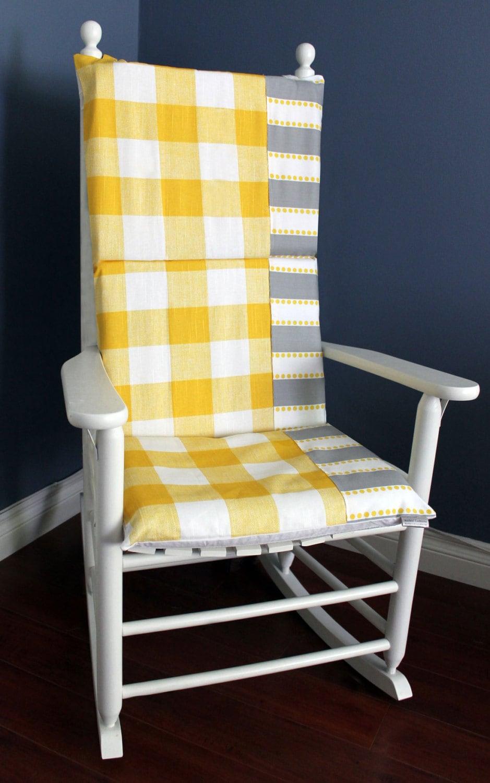 On Sale Rocking Chair Cushion Yellow Gingham Grey
