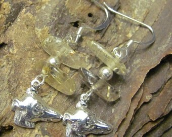Rutilated Quartz Greyhound Earrings Benefit Sale