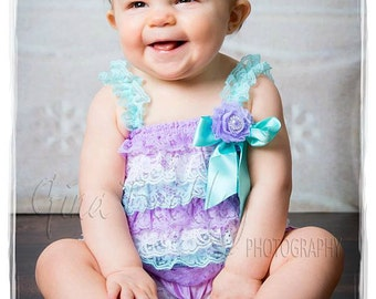 Cake Smash Outfit -  Aqua & Lavender Petti Romper - Baby Girl Rompers -Ruffle Rompers - 1st Birthday Outfit - Baby Girl Birthday Dress