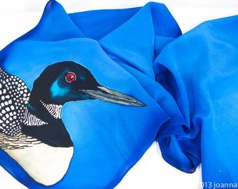 "Hand painted silk scarf. Loon Silk scarf. Hand-painted silk scarves 15""x58"" Handmade silk scarf. Hand painted silk scarves. Blue silk scarf"