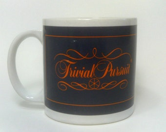 Trivial Pursuit Mug 1981, Blue and Orange Trivial Pursuit Horn Abbot Coffee Cup, Board Game Collectible