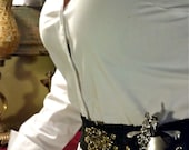 Steampunk utility belt with flask in corset holster.  Made to order for any size. Personalized