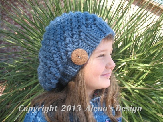 Knitting Pattern 094 - Hat Knitting Pattern - Knitting Hat Pattern for Kate Slouchy Hat  - Toddler Child Teen Adult Girls Ladies Women Men