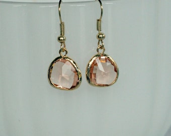 Peach Faceted Glass Drop Earrings - Gold