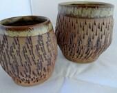 Rustic Textured Ceramic Vase Set, Ceramic Rustic Stoneware Vases, Pair of Textured Rustic Ceramic Vases, Altered rustic Ceramic Vase Set