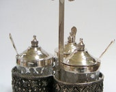Vintage Cruet Set,Silverplate,Crackle Glass,Tableware,Dinner Table,Housewarming Gift,Wedding Gifts,Christmas Gift