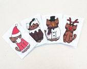 8 Christmas Costume Cat Mini-Cards