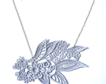 Silver Grey Lace Necklace
