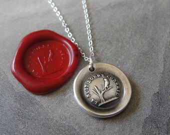Night Teaches Wisdom Wax Seal Necklace - owl on branch antique French wax seal charm jewelry by RQP Studio
