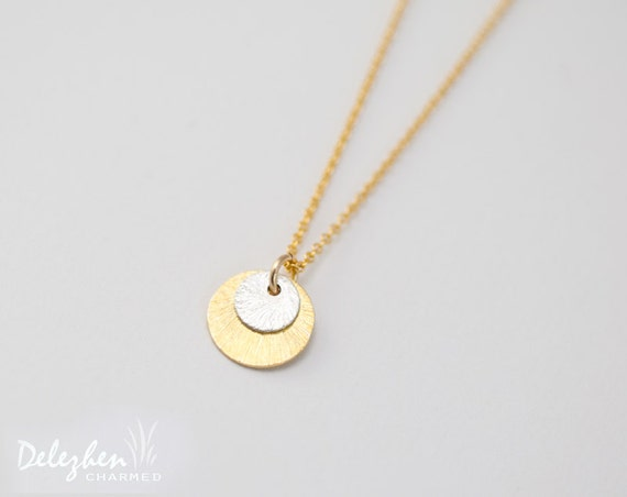 Mixed metal gold and silver round brushed disc charm necklace - minimalist everyday jewelry - gift for her - bridesmaid necklace