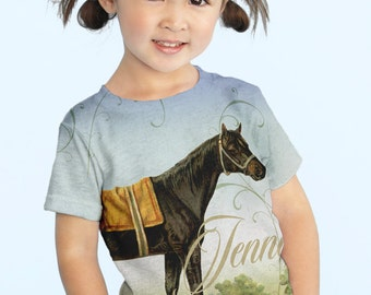 Girls Horse Top, Personalized Equestrian T-Shirt, Shirt, Children's Clothing