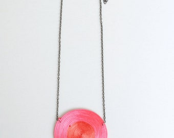Coral necklace, pink necklace, circle necklace, geometric necklace, spiral necklace, gift for her, minimal necklace, abstract necklace