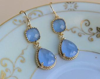 Periwinkle Earrings Gold Lavender Blue Two Tier Earrings Bridesmaid Earrings Wedding Earrings Bridesmaid Jewelry Gift Wedding Jewelry