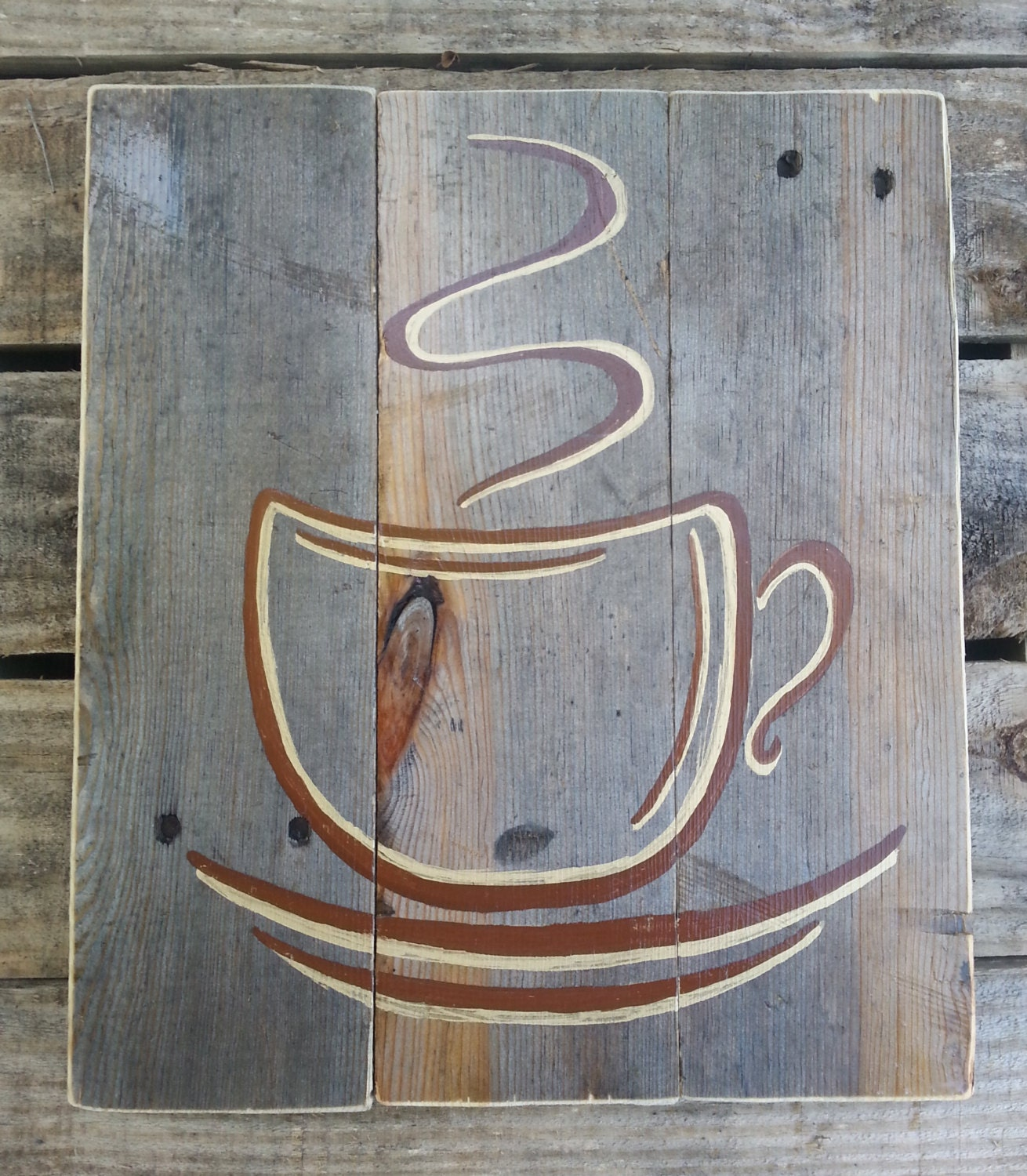 Reclaimed Wood Signs: Reclaimed Pallet Wood Sign Coffee Cup