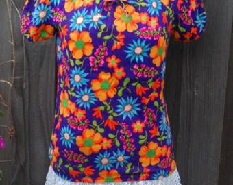 Vintage Hawaiian style top, Women's 60's, custom made