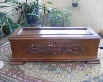 Antique Cylinder Oak Carved Music Box