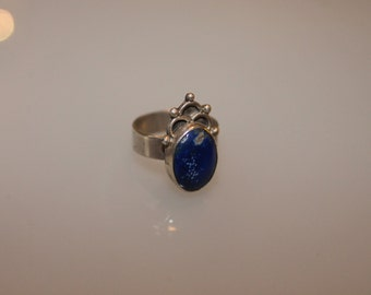 Vintage Sterling Silver and Blue Lapis Stone Ring SIZE 6.5 marked 950