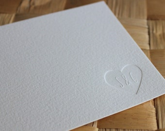 Wedding Thank You Cards, Custom Letterpress Note Cards, Personalized Stationery, Couple's Stationery, Heart Note Card Set