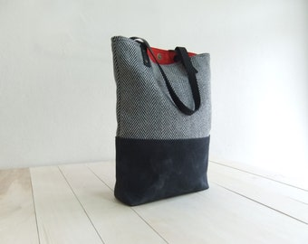 Black  Waxed Canvas Tote Bag Black Tweed Black Leather Straps Handmade Shoulder Tote Bag Red Lining Women Handbag