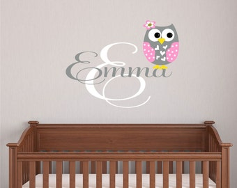 Custom Girls Name With Owl Decal // Personalized Name // Girls Custom Name // Nursery Vinyl Decal // Owl Decor // Owl Decal // Wall Decal