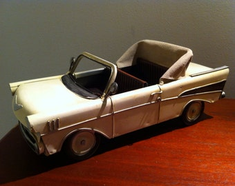 Tin Metal Car - 57 Chevy Convertible Car - American Classic Chevrolet Toy Desk Ornament - Gift for Him