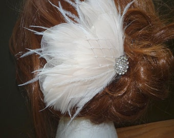 "Champagne ivory feather hair  piece ""Emily"" rhinestone accent"