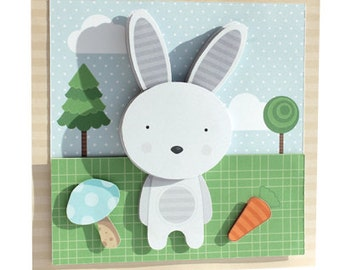 Woodland Rabbit A4 Decoupage Digital Download Curious Critters