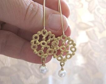Gold  pearl earrings , Gold lace flower earrings , Long gold earrings , Handmade by Adi Yesod