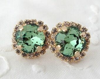 Green Swarovski crystal stud earrings, Deep Green Rhinestone stud earrings, Bridal earrings, Bridesmaid earrings, 14k gold plate