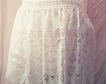 Scalloped Floral Lace Pixie Tinkerbell Circle Skirt