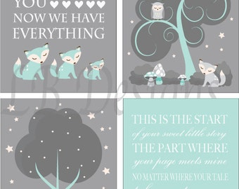 Fox Nursery Prints, Woodland Nursery Decor, Aqua and Gray Nursery, Gender Neutral Nursery Decor, Woodland Bedroom , Fox Bedroom - 8x10s