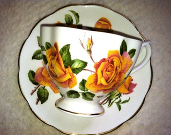 Vintage Queen Anne  Rose Tea Cup