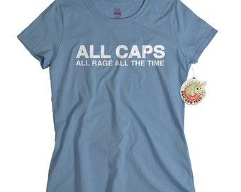 Internet shirt funny womens geek t shirt all caps computer rage troll tee nerdy shirt birthday gift for women girls ladies girlfriend