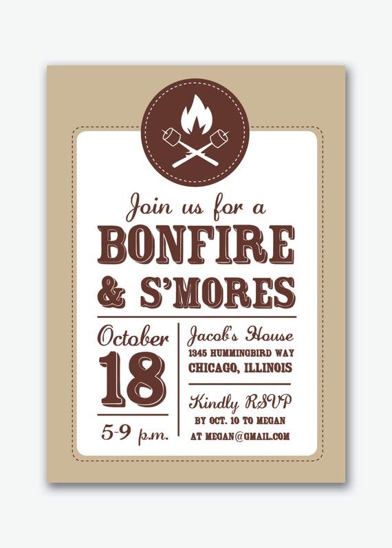 Items similar to bonfire and s'mores campfire party custom invitation on Etsy