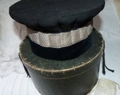 Antique French hat traveling box w black victorian judge top hat in velvet w silver trim, w collar, antique luggage w labels, steampunk set