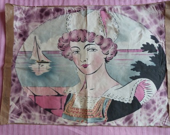 Antique Art Deco French hand printed linen panel Breton costumed lady Bretagne France for making pillow cushion cover case sewing supply