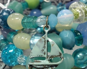 Summer Elegance, Wrap Bracelet, Ocean Blues and Greens, Glass and Acrylic Beads, Charms, OOAK