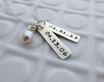 Our Dates - - Hand Stamped Jewelry - - Personalized Necklace - - Sterling Silver Necklace