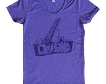 Ladies American Apparel SUPER SOFT Vintage Feel Track Tee - Cleveland Bridges on Orchid Purple