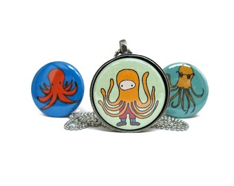Octopus Necklace - Set of Three Badge Necklaces
