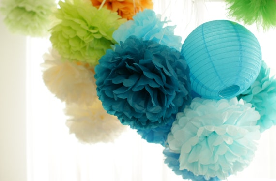 6  Large Tissue Pom Pom - pick your colors