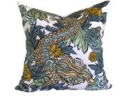 Robert Allen  Midnight Ming Dragon Decorative Pillow Covers 18x18, 20x20 or 22x22, or 14x20 Lumbar Pillow, Accent Pillow, Throw Pillows