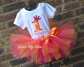 Hot Pink and Orange Polka Dot Number Crown Birthday Tutu Outfit, Princess Party Tutu Set, Princess Crown Tutu Set