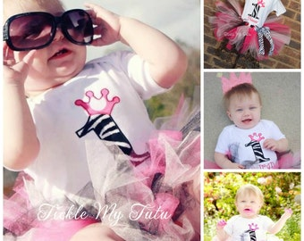 Hot Pink and Zebra Print Birthday Number Crown Tutu Outfit-Zebra Print Birthday Tutu Set-Hot Pink and Zebra Princess Tutu Set