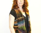 RESERVED for TESS - Flare Vest Hand Knit with Noro Japanese Yarn