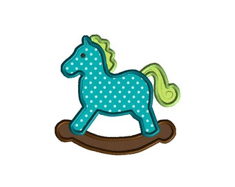 Rocking Horse Applique Machine Embroidery Design-INSTAND DOWNLOAD