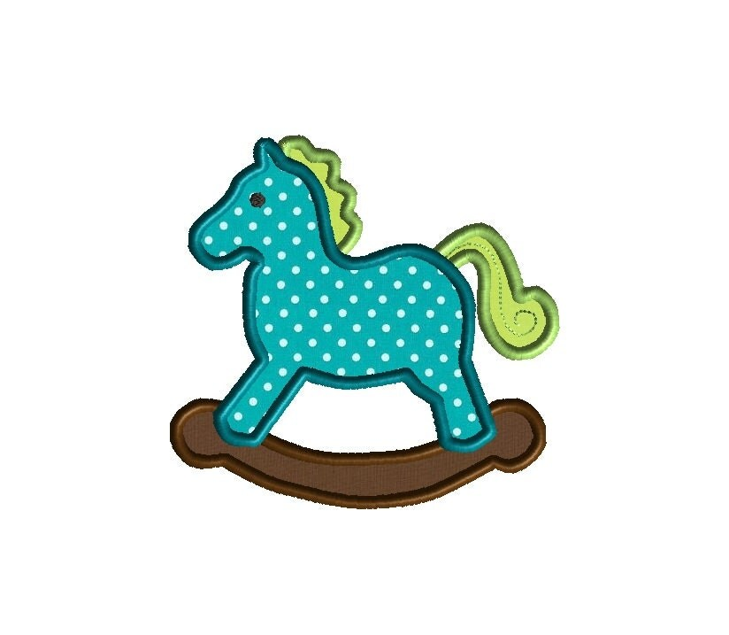 Rocking horse applique machine embroidery design instant