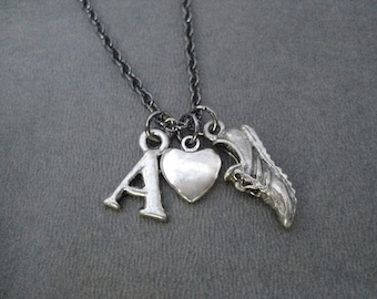 I LOVE to RUN Initial Running Necklace - Your Initial - Personalized Running - Gunmetal chain - Initial Runner - Mother's Day - Run Initial