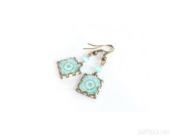 Mint Floral vintage print earrings Mint vintage style tile earrings. Mediterranean ceramic tile pattern Vintage flowers