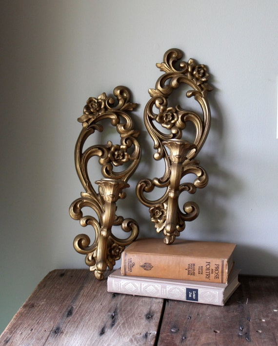 Antique Gold Candle Wall Sconces : Wall Candle Sconce Gold Vintage Ornate by TheSquirrelCottage